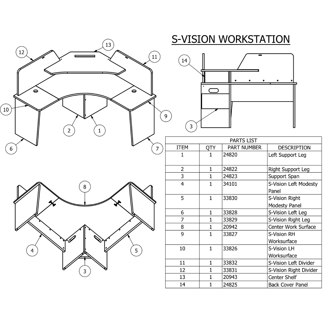 ... Items 1 And 2 For Vision Workstations And Figure 2, Items 1 And 2 For S Vision  Furniture). There Is About An Inch Of Adjustment Built Into Each ...