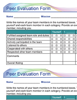 Pitsco Education - Grades 3-5 - Sample Peer Evaluation