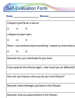 Pitsco Education - Grades 3-5 - Sample Self Evaluation Form