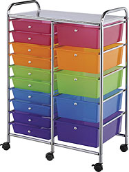 15-Drawer Multicolored Storage Cart