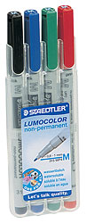 Staedtler Lumocolor Non-Permanent Medium-Point Markers (set of 4)