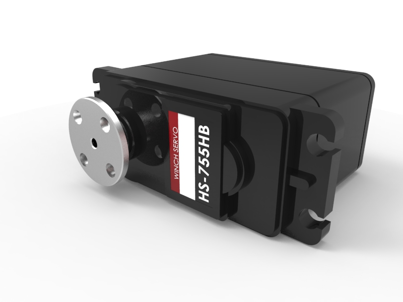Quarter-Scale HS-755HB Servo Motor with Horn 3D Animation