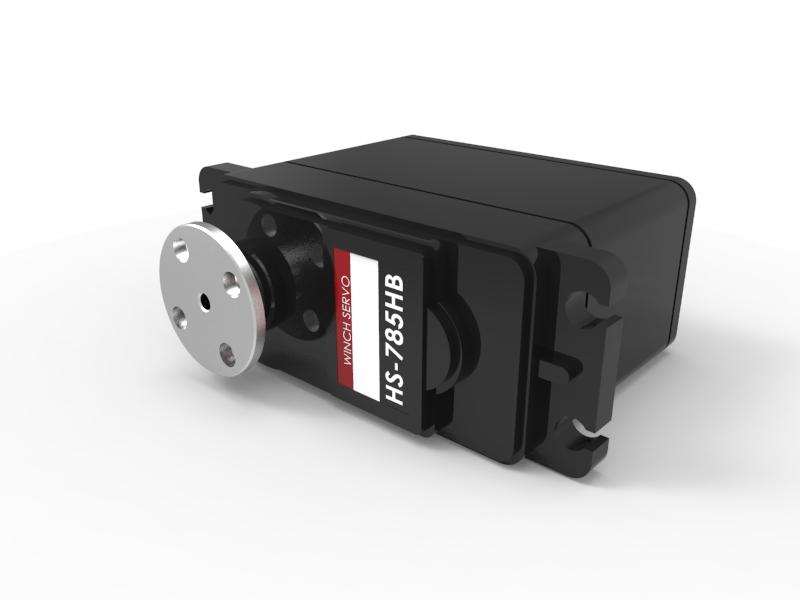 Quarter-Scale HS-785HB Winch Servo Motor with Horn 3D Animation