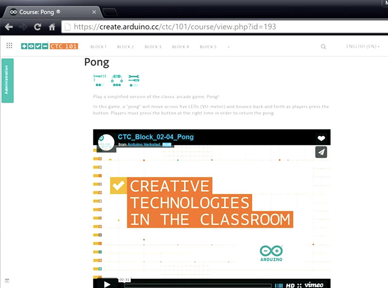 Creative Technologies in the Classroom 101 – Pong